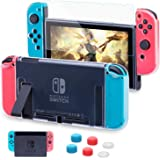 HEYSTOP Custodia per Nintendo Switch, Cover Protettiva Trasparente e Switch Pellicola Protettiva Utilizzabile nel Dock con 6