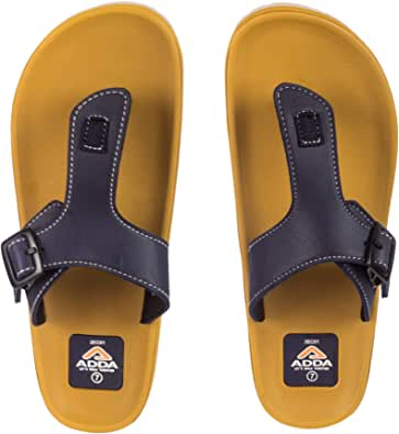 ADDA Men's Beige & Navy Flip-Flops - 7 UK