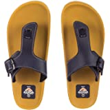 ADDA Men's Beige & Navy Flip-Flops - 8 UK