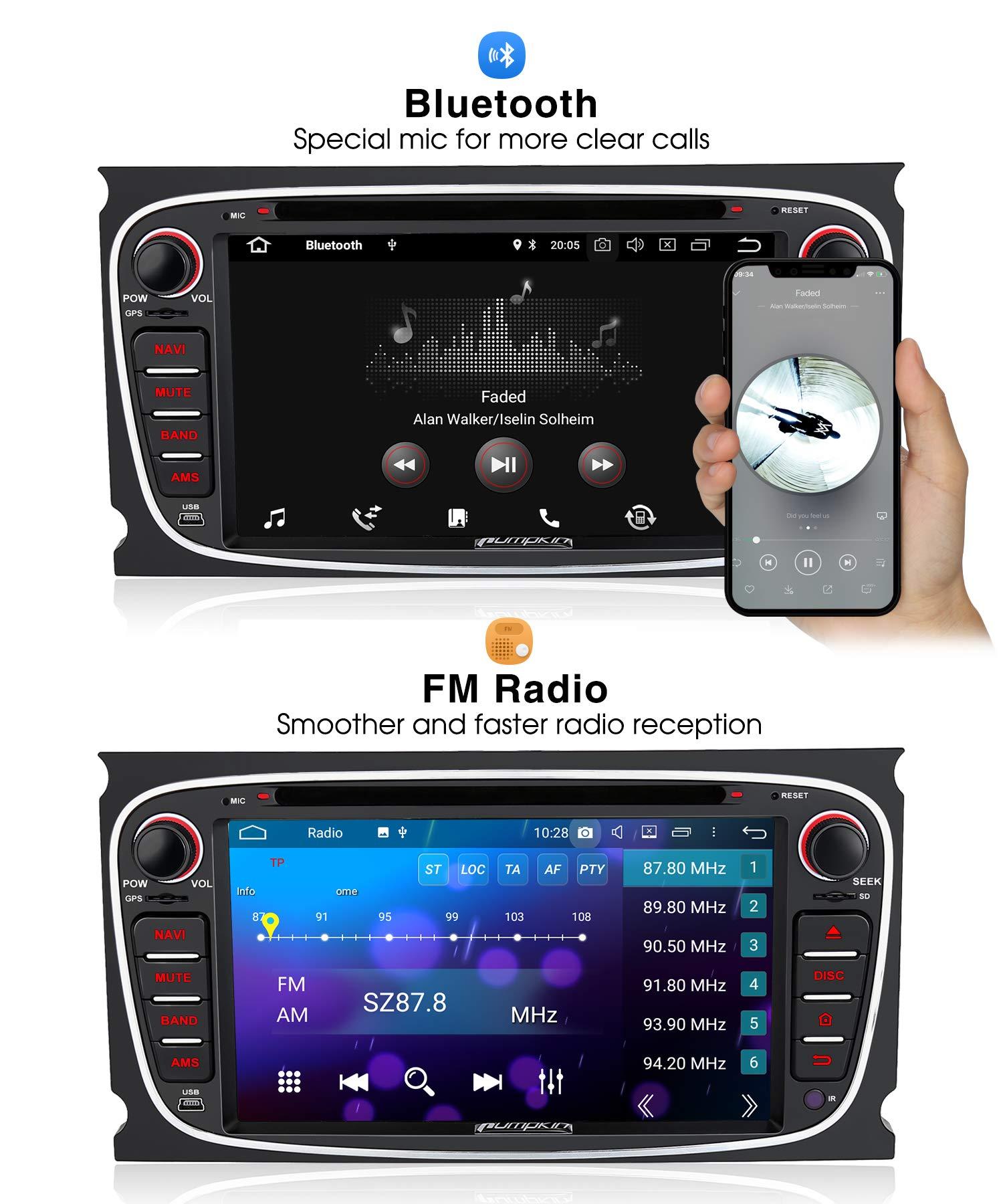 PUMPKIN-Android-90-Autoradio-Radio-fr-Ford-Focus-Mondeo-mit-Navi-Untersttzt-Bluetooth-DAB-CD-DVD-WiFi-4G-Android-Auto-USB-MicroSD-2-Din-7-Zoll-Bildschirm-Schwarz