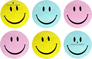 Kids Fashion Perpetual Bliss Round Shape Smiley Plastic Lunch Box for Boys and Girls (Multicolour)- Pack of 6