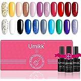 Umikk 24 Pcs Gel Vernis à Ongles Set 21 Couleurs 5 ml avec Base et Top Coat et Gel Top Mat 10 ml Tremper LED UV Gel Manucure
