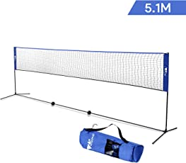 amzdeal Badmintonnetz 5,1m Maschen faltbar Multifunktionsnetz für Badminton oder Tennis ( Blau )