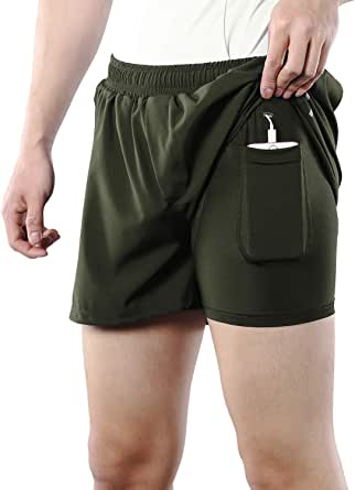 ARSUXEO Men's 2 in 1 Running Shorts for Sports Fitness Training with Pocket B206