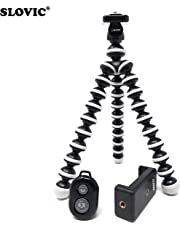 Slovic Gorilla Tripod 10 Inch for Mobiles with Mobile Holder & Bluetooth Remote (Black-White)