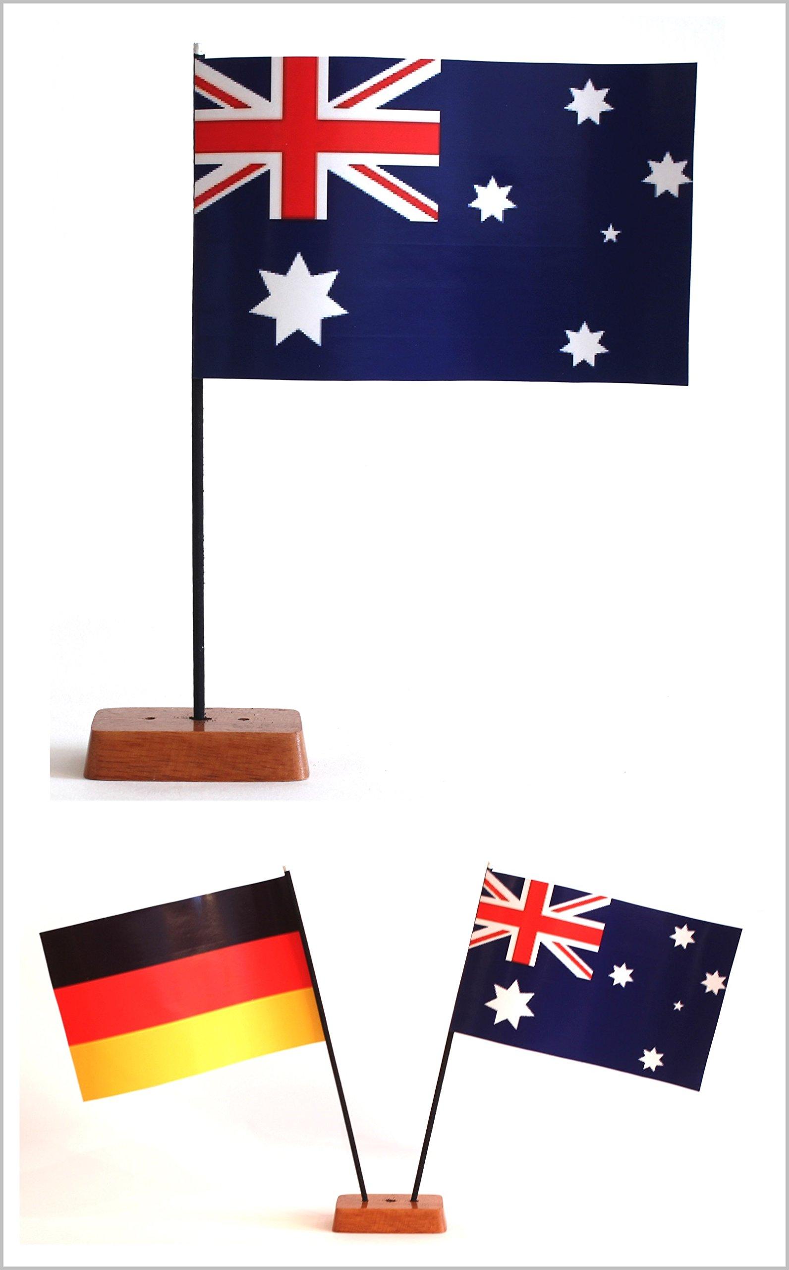 Buddel-Bini Tischflagge Australien und Deutschland 90x140 mm mit Ständer aus Holz, Gesamthöhe ca. 20 cm Tisch Flagge…