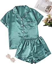 Shein Women's Satin 2 Piece Short Sleeve Top and Pant Pajama Set with Pocket