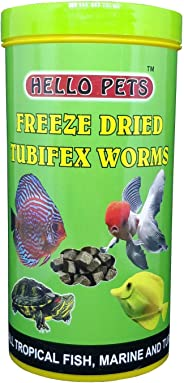 Hello Pets Freeze Dried Tubifex Worms Fish Food, 100 g