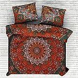 Marusthali Psychedelic Star Mandala Tröster Cover Single Bettwäsche Throw indischen Bettbezug & Kissen Fall böhmischen Throw Bett in einer Tasche Set mit Bettlaken