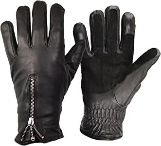 GOLDTOP Mens Short Bobber Leather Motorcycle Gloves Cruiser Style Harley Chopper Short Cuff Perforated Fleece Lined Gloves