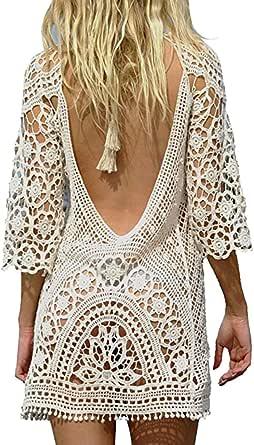 Biofieay Damen Strandkleider Sommer Bohemian Chiffon Bikini Badeanzug Cover Up Strand Tunika Hemdkleid