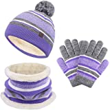 Kids Winter Hat Sjaal Handschoenen Set, Baby Peuter Gebreide Beanie Hals Warmer Gaiter Handschoenen 3PC, Pom Stripe Caps voor