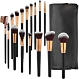 SOLVE Makeup Brushes 16 Pcs Premium Synthetic Foundation Blending Blush Concealer Eye Shadow Makeup Brush Set,Leather Travel