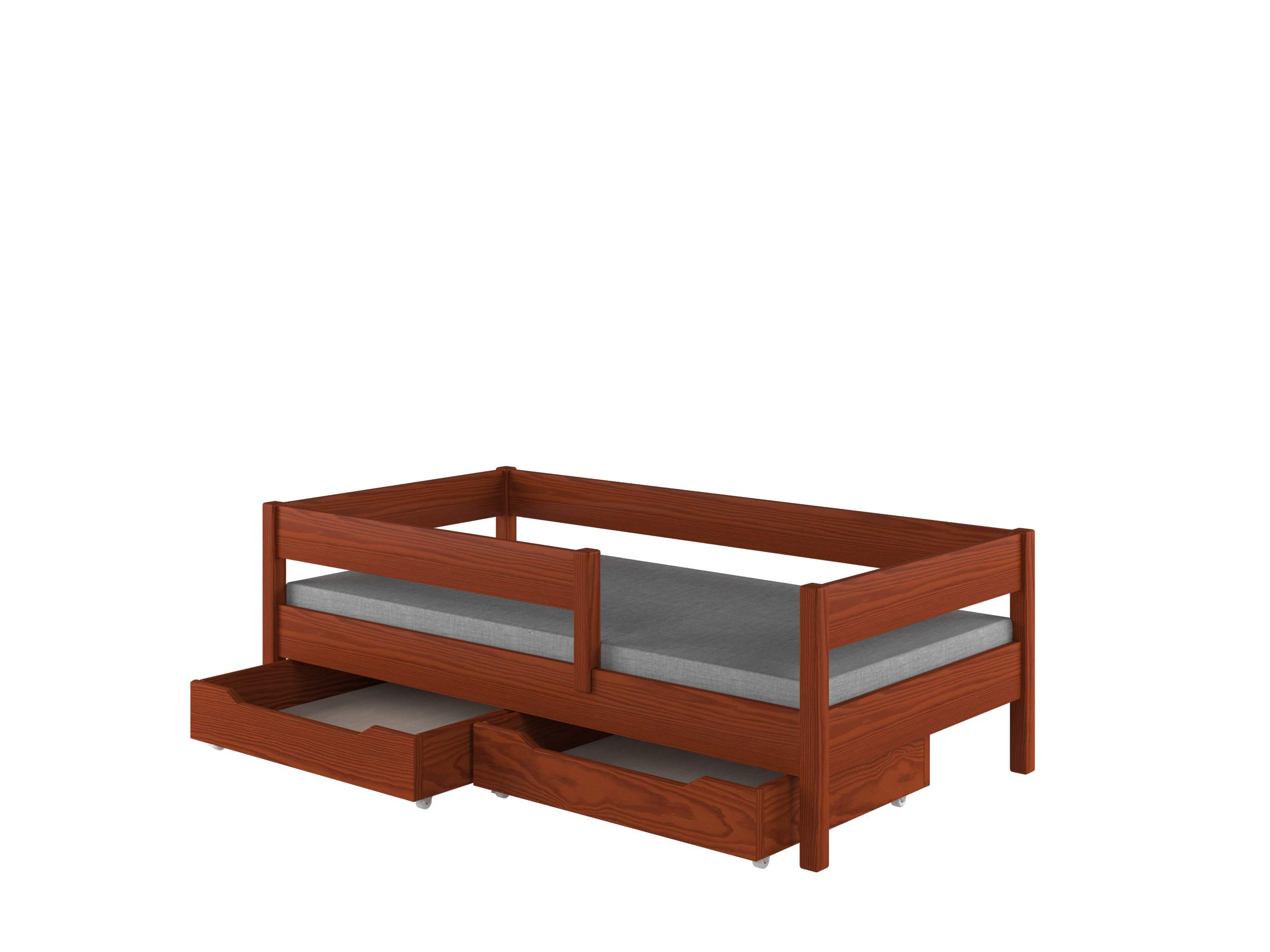 Children's Beds Home Single Beds For Kids Children Toddler Junior with drawers No Mattress Included...(140x70, Palisander) Children's Beds Home Bed with barriers - internal dimensions 140x70, 160x80, 180x80, 180x90, 200x90 (External dimensions: 147x77, 167x87, 187x87, 187x97, 207x97) Bed frame with load capacity of 150 kg, Fittings + installation instructions Universal bed entrance - right or left side, front barrier can be removed at later stage. 1