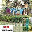 MultiWare Rotary Washing Line Outdoor Cloth Airer Dryer 4 Arm 50M With Cover