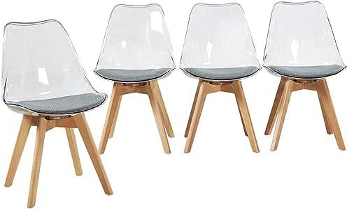 EGGREE Set di 4 Sedie Trasparente in Policarbonato Sedie Cucina Moderne Sedia da Pranzo Scandinavo con Cuscino in Tessuto e Gambe di Legno