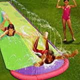 Giant Double Lawn Water Slide 16ft Slip and Slide Play Center Slide Water Spraying and Crash Pad for Kids Children Summer Bac