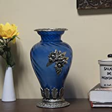 Saudeep India Trading Corporation Royal Glass Flower Pot/Vase with Antique Oxidized Metal Grapevine Brooch, Border and Base, 6x11-inch(Blue)