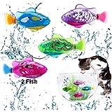Twshiny 2 PCS Juguete electrónico Realista Mini robótica pez Pescado de la robótica Pescado para niños (Transparent)