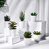 HapeeFun Succulentes Artificielles, 6 pcs Plante Artificielle Interieur, Fausse Plantes avec Pot, Plante Artificielle…