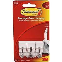 3M Command Wire Plastic Hooks, Small, White, 3 Hooks (17067ES)