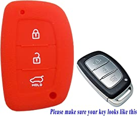 Lowrence Silicone Key Cover for Hyundai Creta, i20 Elite/Active, Grand i10, New Verna, Xcent Smart Key Red.