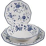 Churchill Roses Bleu Service Table, Earthware, Blanc/Bleu, 18unités