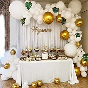 White Balloon Garland Bow Set White Gold Balloons Baby Shower Weed Birthday Stag Night Party Background Decoration Spielzeug