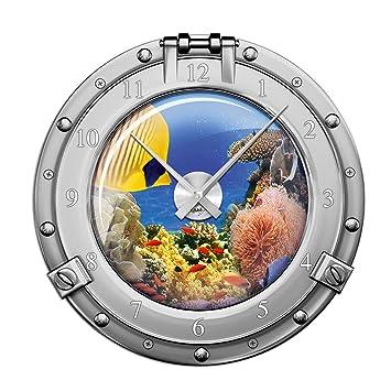 Amazon.de: Wandsticker Uhr Mit Uhrwerk Wanduhr Badezimmer Bullauge Fische  Meer Ozean (Uhr Gold)