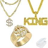 PPX 3 Pezzi Anelli e Collana in Metallo Dorato con Simbolo Del Dollaro, Collana con Ciondolo firmata King, con Scatola