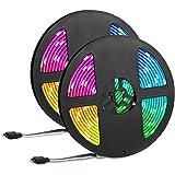 Led Strip Lights 32.8ft,IP65 Waterproof 300 LEDs 5050 RGB Strip Lights Colored Rope Light Strip Kit with 44 Keys IR Remote Co