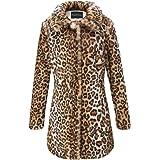 Giolshon Estampado de Leopardo del Abrigo de Piel sintética de Las Mujeres, Invierno Mullido de Outwear Caliente