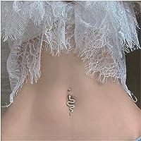 QHKS 925 Sterling Argento Ombelico Piercing a Forma di Serpente a Forma di zircone cubico Anello a Bottone
