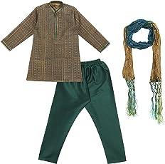 JTN Fashions Boys Ethnic Wear Silk Kurta Pyjama Set with Stole
