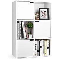Meuble Cubes Bibliothèque Salon Rangement avec 6 Casiers 3 Portes 90x29x60cm Blanc