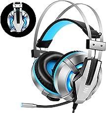 EKSA Gaming Headset, Wired Surround Sound Gaming Kopfhörer 3.5mm Stereo mit Mikrofon, Over-Ear Headphone mit Lautstärkeregler & Rauschunterdrückung & LED-Licht für PS4 / Neue Xbox One / PC/ Mac/ Phone/ iPad /Smartphone (Blau)