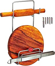 Dusata Chakla Belan Stand for Kitchen - Rust Free Stainless Steel Rolling Pin Board Holder