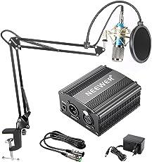 Neewer Kit di Microfono a Condensatore NW-800: Microfono Argento, Alimentazione 48V Phantom Nera, NW-35 Stand per Microfono Asta di Sospensione Braccio a Forbici con Supporto Anti-vibrazione, Filtro Pop & Cavo XLR Maschio a Femmina per Registrazioni a Casa in Studio