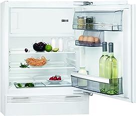 AEG SFB58221AF Kühlschrank / Unterbau-Kühlschrank mit Gefrierfach / 93 l Kühlraum / 16 l 4-Sterne Gefrierfach / einbaufähiger Kühlschrank / kleiner Einbaukühlschrank (A++) / H: 82 cm / weiß