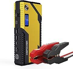 500A Spitzenstrom 12000mAh Tragbare Auto Starthilfe Autobatterie Anlasser, Externer Akku Ladegerät mit Kompas, LCD Display und LED Taschenlampe für Laptop, Smartphone, Tablet und vieles mehr