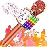 SunTop Microphone Karaoké Bluetooth Sans Fil, Haut-parleur Multifonctionnel avec Lumière LED Colorée, Parleur Intégré Chanter