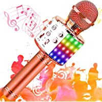 SunTop Microphone Karaoké Bluetooth Sans Fil, Haut-parleur Multifonctionnel avec Lumière LED Colorée, Parleur Intégré…