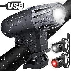 Nasharia Fahrradlichter Set,Fahrradlicht USB Aufladbar Fahrradlampe LED Set Frontlicht & Rücklichter IPX65 Wasserdicht 4 Licht-Modi Fahrrad Licht für Radfahren,Wandern,Laufen,Walking,Camping