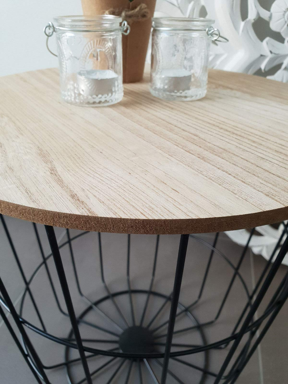 Meinposten Beistelltisch Nachttisch Tisch Korb Mit Stauraum