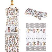 SPOTTED DOG GIFT COMPANY Set 3 - Torchons de Cuisine, Tablier et Maniques Cuisine Gant, Motif Chats Mignons, Accessoires…