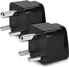 kwmobile 2x adattatore da viaggio universale Tipo D - Adapter elettrico per presa Type D India Sri Lanka Nepal Emirati Arabi Congo - nero