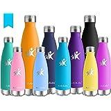 KollyKolla Botella de Agua Acero Inoxidable - 350ml/500ml/650ml/750ml, Termo Sin BPA Ecológica, Botellas Termica Reutilizable