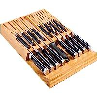 Utoplike Porte-Couteaux en Bambou pour Tiroir Pouvant Contenir 16 Couteaux et 1 Affiloir, Porte-Couteaux sans Couteaux…