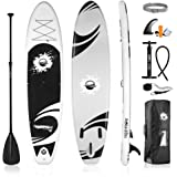 SereneLife Inflatable Stand Up Paddle Board (6 Inches Thick) with Premium SUP Accessories & Carry Bag   Wide Stance, Bottom F
