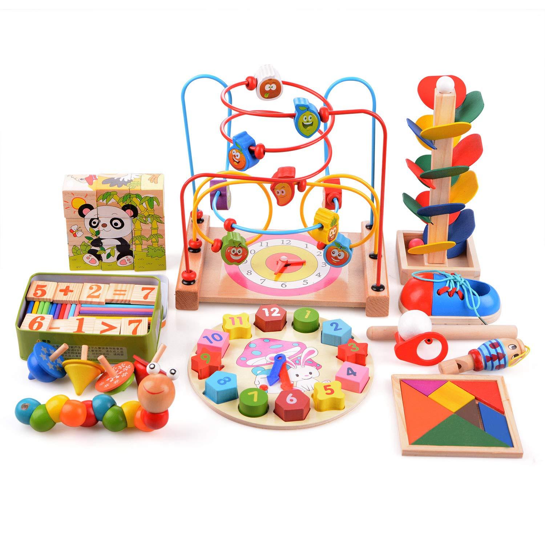 Doolland In Legno Per Bambini Piccoli Giocattoli Set11 Tipi Di Legno Baby Learning Toys Tangram Puzzle Beads Maze Sorting Clock Precoce Educativo